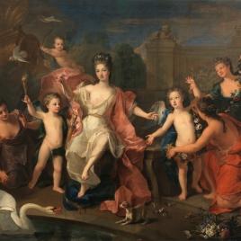 María Adelaida de Saboya, duquesa de Borgoña con sus hijos