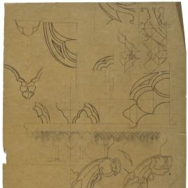 Calco de detalles decorativos vegetales y de mocárabes para el tabernáculo de la Catedral de Oviedo