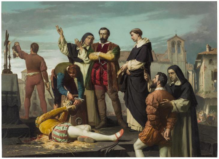 Los Comuneros Padilla, Bravo y Maldonado en el patíbulo (réplica)
