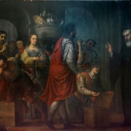 San Agustín recibiendo donaciones de los ricos, para entregarlas a los pobres