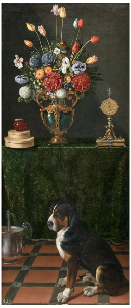 Still Life with Vase of Flowers and a Dog