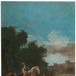 Un oficial a caballo y cuatro soldados a pie