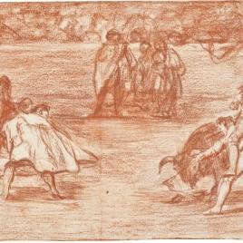 Un varilarguero, montando a hombros de un chulo, pica al toro [Un torero monté sur les épaules d'un chulo 'lanceando' (sic) un taureau]