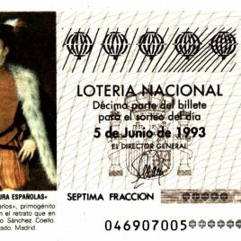 Capilla de décimo de Lotería Nacional para el sorteo de 5 de junio de 1993