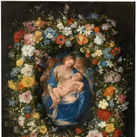 Garland with the Virgin and Child and two Angels