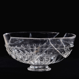 Oval rock crystal vessel with gadrooned decoration