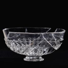 Vaso oval de cristal con gallones