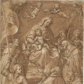 La Virgen del Rosario con Santos