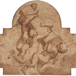 Cinco angelitos llevando la columna de la Pasión