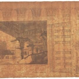 Interior del templo de Horus en Edfú, planta y alzado del pórtico del templo de Jnum en Esna (Latópolis) y detalles de capiteles y puertas