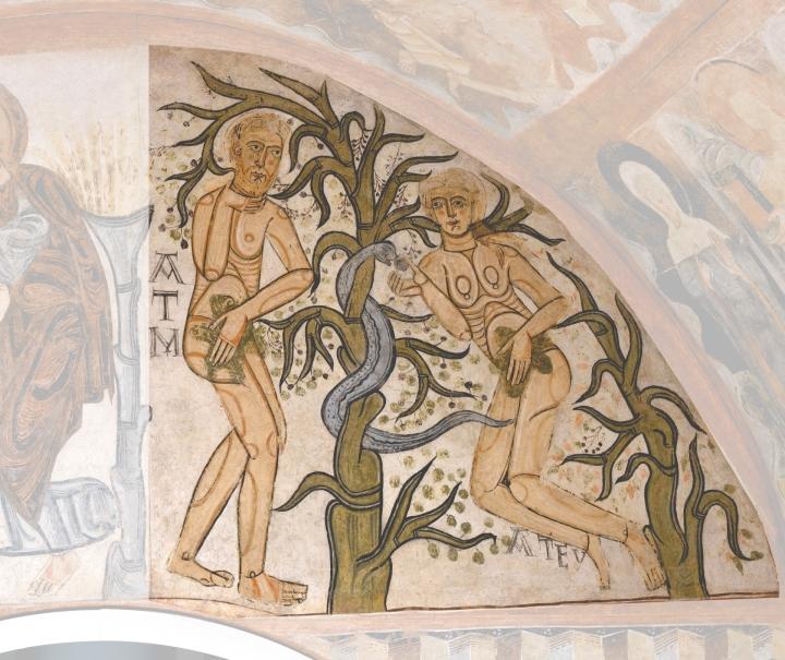 El Pecado Original. Pintura mural de la ermita de la Vera Cruz de Maderuelo