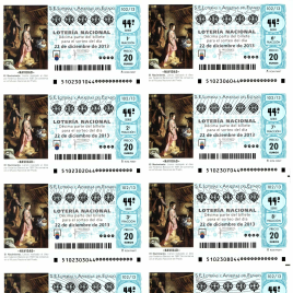 Capilla de billete de Lotería Nacional para el sorteo de 22 de diciembre de 2013
