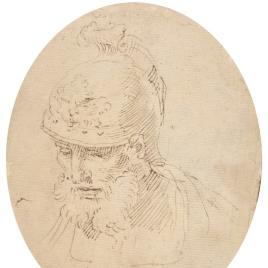 Cabeza de guerrero con casco