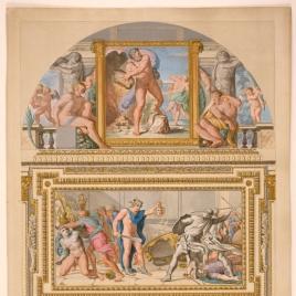 Vista de la Galería Carracci, pared occidental, en el palacio Farnese