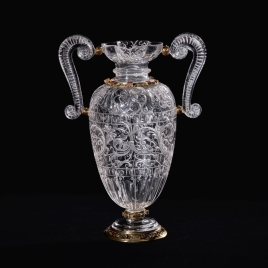 Rock crystal vase with scroll-shaped handles and a decoration of roses