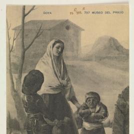 """Mujer con dos muchachos en la fuente (""""Los pobres en la fuente"""")"""
