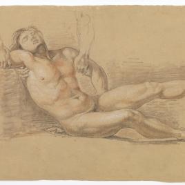Estudio de desnudo masculino reclinado cogido por los hombros