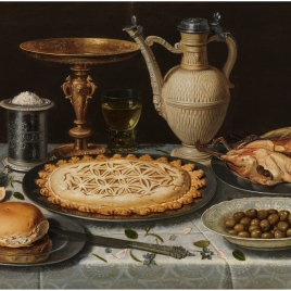 Table with a cloth, salt cellar, gilt tazza, pie, jug, porcelain dish with olives, and roast fowl