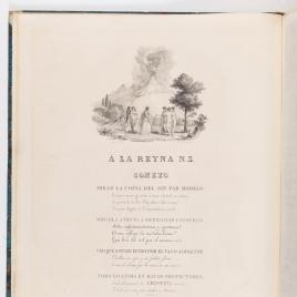 Alegoría y soneto dedicado a la reina María Cristina de Borbón