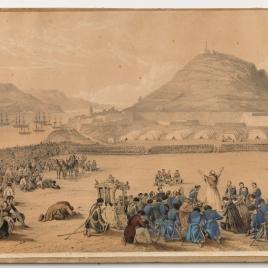 El papa Pío IX bendice a las tropas españolas que acuden en su ayuda en las costas de Gaeta