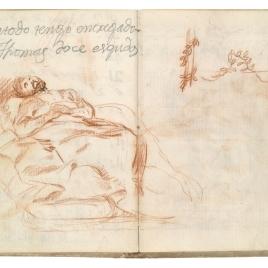 El sueño de san José o La muerte de san Francisco Javier (estudio preparatorio). Anotación de pago a Tomás Goya. Apuntes de motivos vegetales