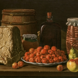 Still Life with Plate of Haw Berries, Fruits, Cheese, Honey-Jar and Vessels