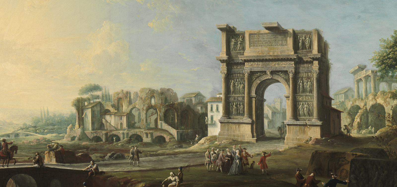Antonio Joli, View of Queen Maria Amalia of Saxony at the Arch of Trajan in Benevento