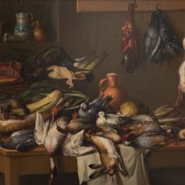 Bodegón de cocina con caza y hortalizas