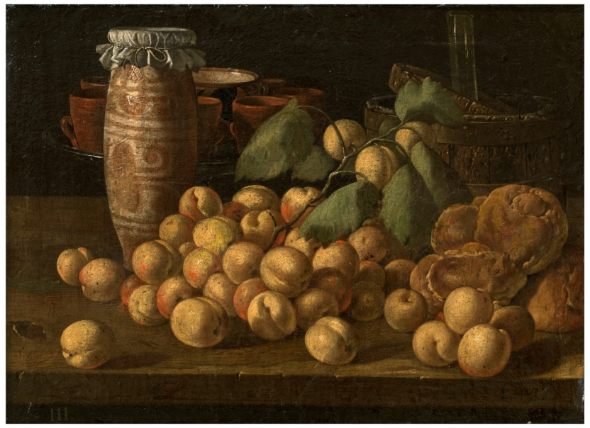 Still Life with Apricots, Buns and Vessels