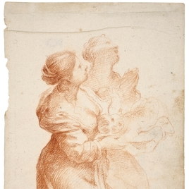Dos figuras femeninas arrodilladas con un niño / San Pedro y San Pablo