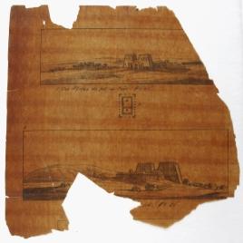 Vistas y planta del templo de Horus en Edfú (?)