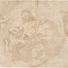 Dos angeles llevando una cartela en la que figura Cristo recibiendo un Santo en Gloria