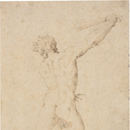 Nude youth, seen from the rear, wielding a club