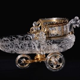 Rock crystal boat with a dragon, two fantastical creatures and wheels