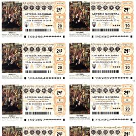 Capilla de billete de Lotería Nacional para el sorteo de 22 de diciembre de 2014