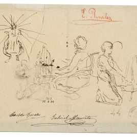Dos figuras femeninas tocando órganos de mano. Arpa coronada por una estrella / Mujer con un niño en brazos