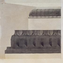 Proyecto de restauración del teatro antiguo de Taormina. Detalle de la planta restaurada. Capitel, fragmento antiguo restaurado.