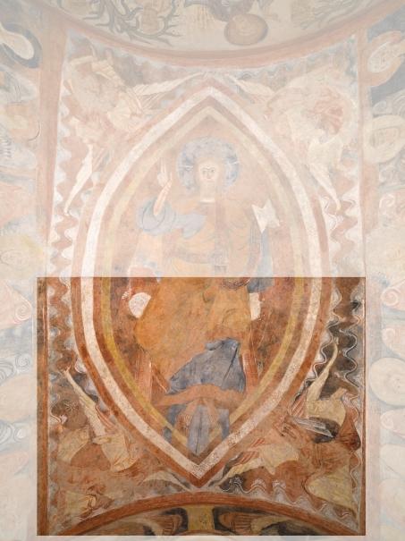 Parte inferior del Pantocrátor. Pintura mural de la ermita de la Vera Cruz de Maderuelo