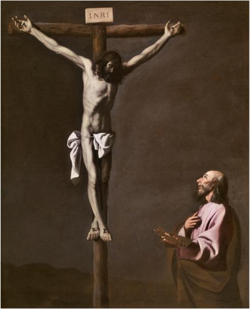 Cristo crucificado, con un pintor