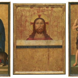 Triptych, open: Bust of Christ, Saints John the Baptist and Peter. Closed: Saints John the Evangelist and Columba