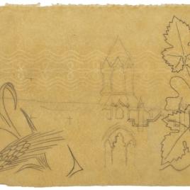 Calco de detalles decorativos para el tabernáculo de la Catedral de Oviedo: motivos vegetales y de una torre