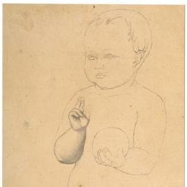 Estudio para la figura del Niño Jesús bendiciendo (Mater Salvatoris. Capilla de las Letanías de la Iglesia de Notre Dame de Lorette, París).