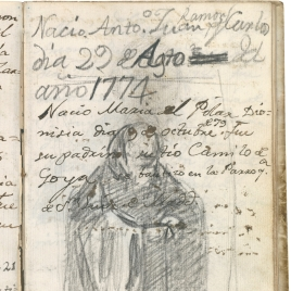 Registro de nacimiento y bautismo de dos hijos de Goya. Figura con hábito clerical