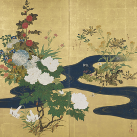 Dos biombos japoneses de la Escuela Rimpa [Recurso electrónico].