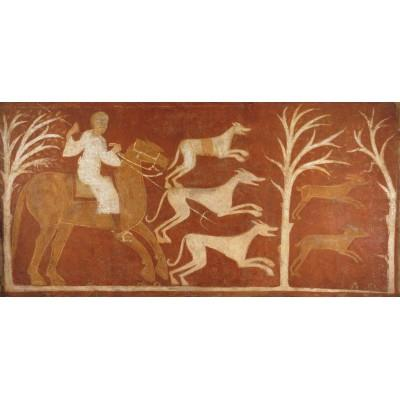 """Hare Chase. Mural painting from San Baudelio in Casillas de Berlanga (Soria)"""