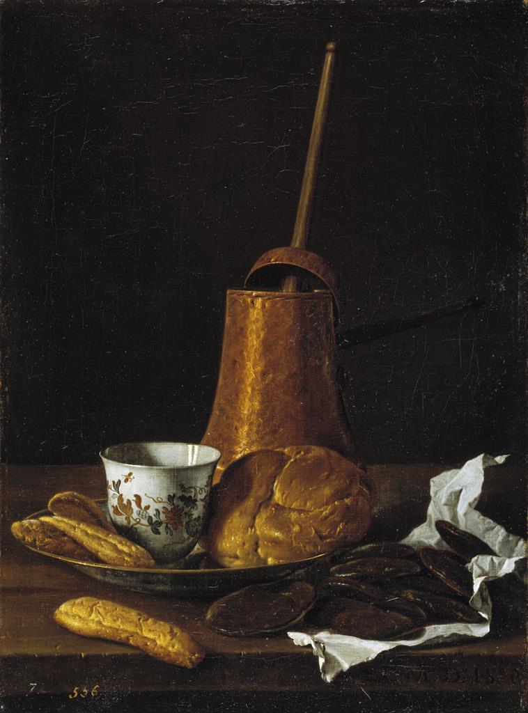 Bodegón con servicio de chocolate y bollos [Luis Meléndez]