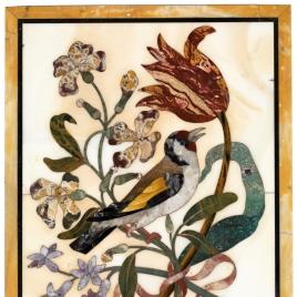 Placa con jilguero y flores