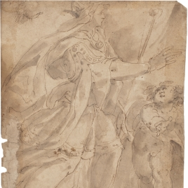 "Woman wearing robes and a crown, carrying a scepter, accompanied by a child / Study for a composition of ""Noli me tangere"""