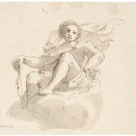 Cupido sentado sobre nubes