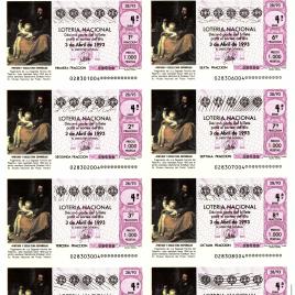 Capilla de billete de Lotería Nacional para el sorteo de 3 de abril de 1993